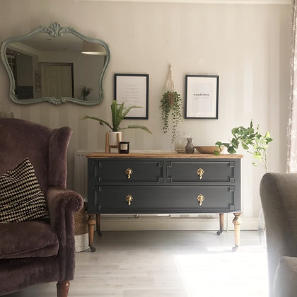 Small sideboard drawers in ash grey wooden top