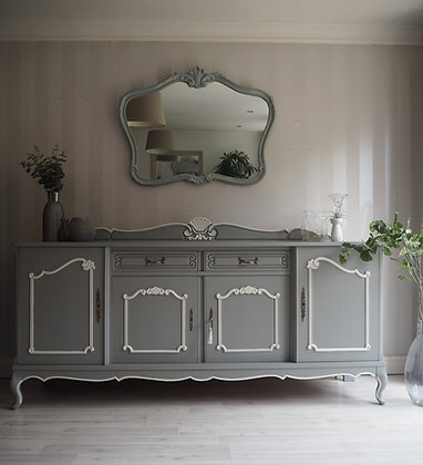 Large French sideboard in grey white details