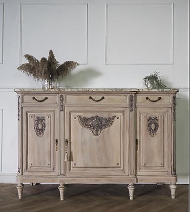 Large Antique sideboard in washed wood limed oak