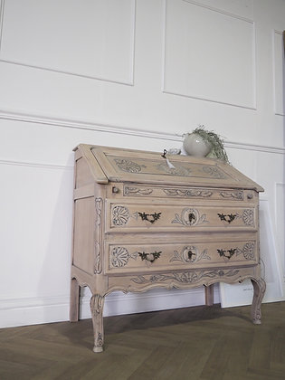 French vintage oak writing bureau