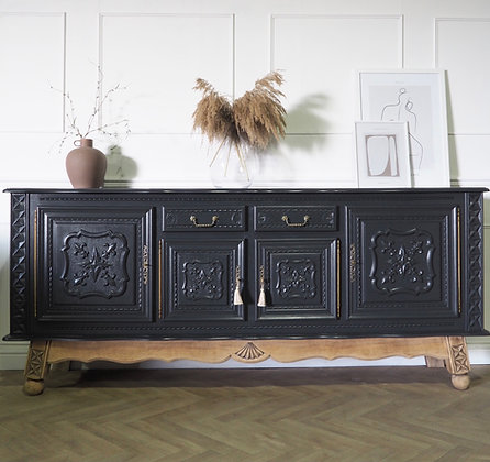 Large Antique Style French Sideboard in ash Black