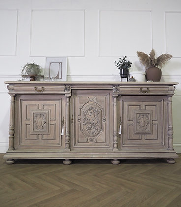 Large French Antique carved Sideboard in Limed Oak