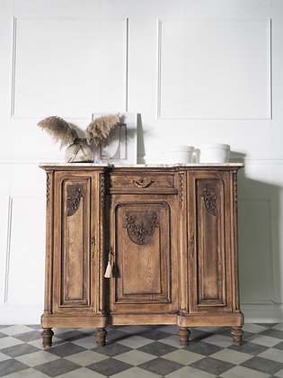 French antique Sideboard Cupboard in Raw Wood marble Top