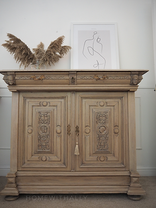 Large French antique Sideboard in bleached Wood Limed Oak cabinet