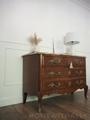 French Rosewood antique Commode Chest of Drawers with marble Top