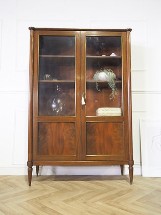 Large French Mahogany Louis XVI Bookcase Glass cabinet