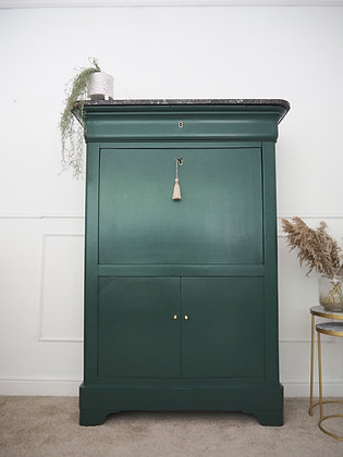 Large antique Louie Philippe Style Secretaire Cabinet in dark Green