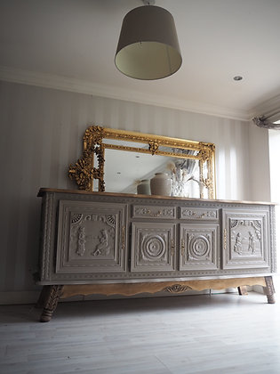 Very large heavy ornate antique french carved sideboard in taupe and wood
