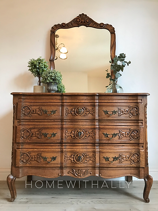 French Louis XV ornate Chest of drawers with large mirror