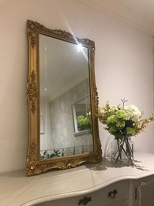 Gilt framed rectangular mirror ornate details