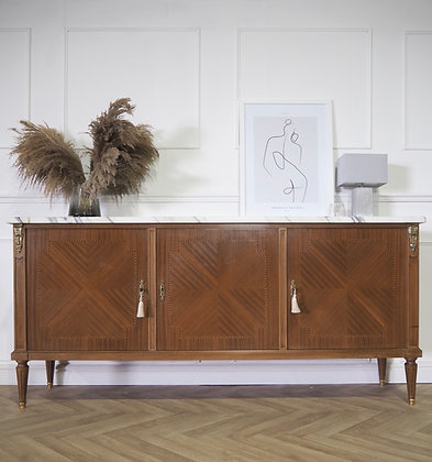 French Vintage rosewood sideboard white marble top