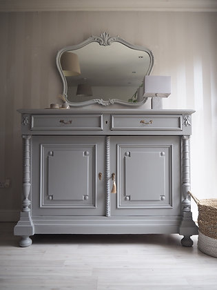 Chunky french antique 19th century cupboard sideboard drawers in grey