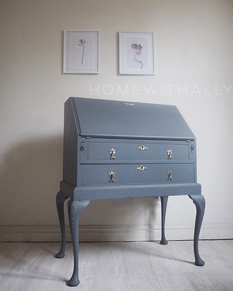 Vintage writing bureau in dark grey