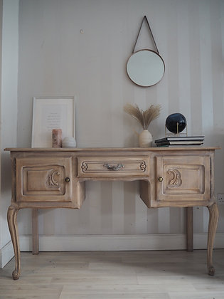 Limed oak french Louis XV Style Vintage Dressing Table