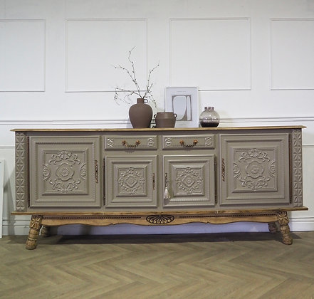 Large French antique style sideboard in taupe