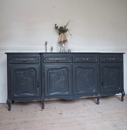 Large french Louis XV Style sideboard in ash black