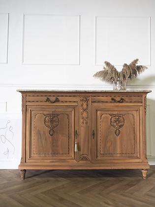 French antique sideboard with marble top in raw wood