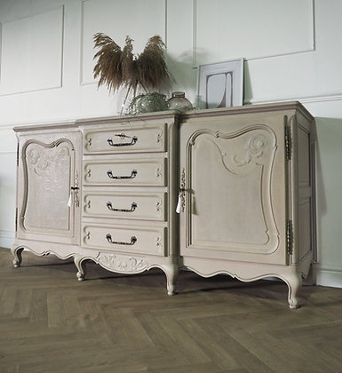 Large French Louis XV Sideboard in limed oak raw wood