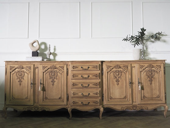 Large French Louis XV Vintage Sideboard in Raw Wood