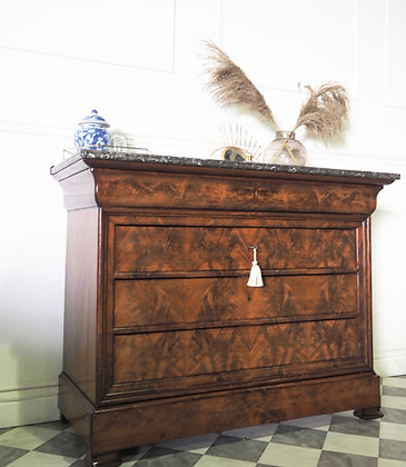 Large French Louis Philippe walnut Commode Marble top