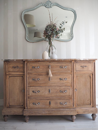 Antique french dresser sideboard in raw wood with marble top