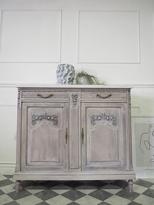 French Antique Cupboard Cabinet sideboard in white washed wood