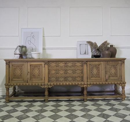 Large Bleached Oak Carved Ornate Sideboard