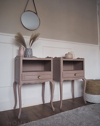French Louis Xv style vintage repro Bedside tables Drawers in Dusky Pink