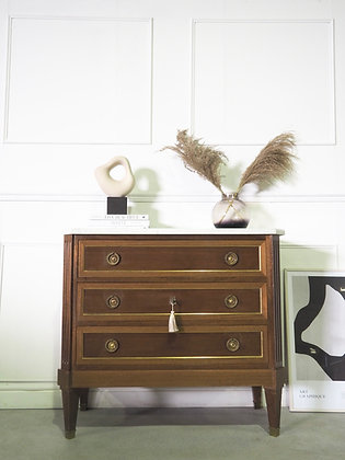 Small French Louis Chest of drawers Commode with Marble Top