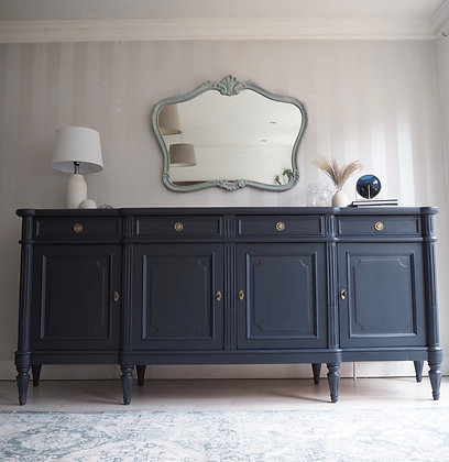 Large vintage french Louis Sideboard in navy blue