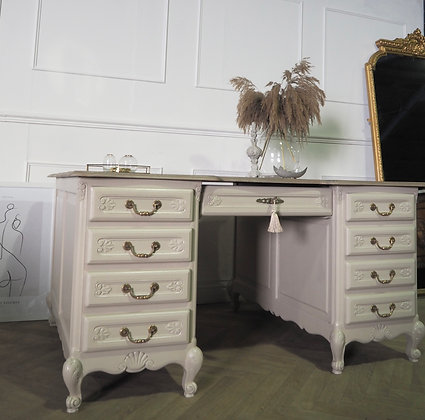 Large double partners desk French Louis XV style cream wooden top