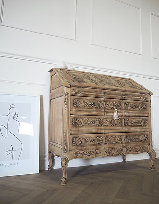 French  carved Vintage Writing bureau in bleached Oak