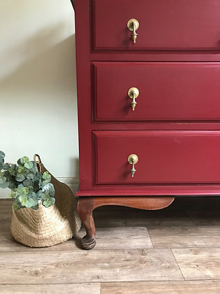 French style small sideboard / drawers in Cranberry