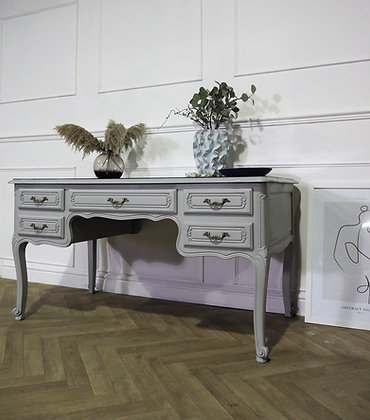 French vintage desk dressing table in grey glass top