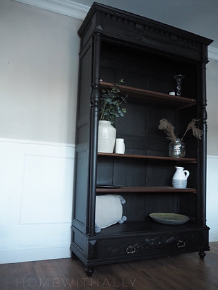 Large French Oak Antique 19th Century Bookcase in black
