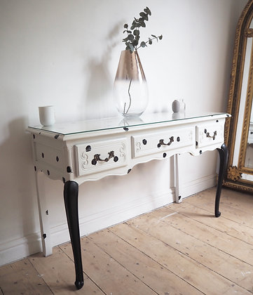 French console / dressing table / desk in Dalmatian print  glass top