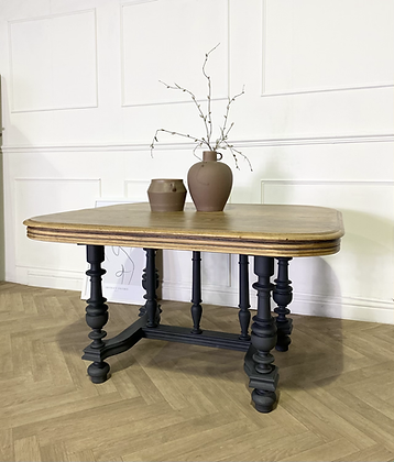 French antique oak dining table entry table in black wooden top