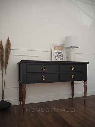Vintage console table in ash wooden legs