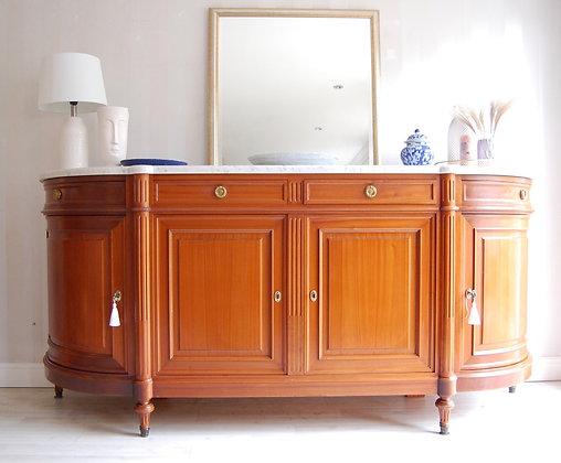 French Louis XVI Style Antique Mahogany Sideboard with Marble Top