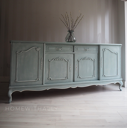 Reproduction French Louis style large sideboard in duck egg blue with glass top