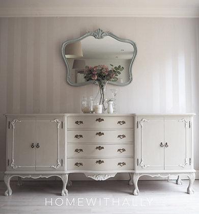 Large antique Dutch walnut sideboard in cream/ grey ornate details
