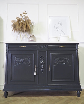 French antique sideboard in black grey marble top
