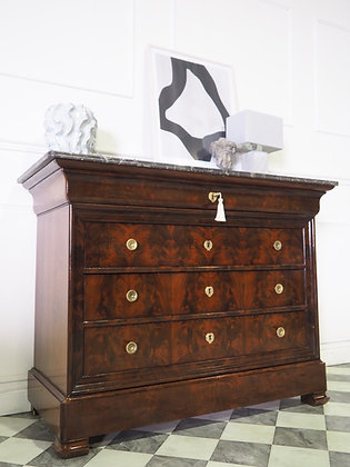Large French Louis Philippe Commode Chest with marble Top