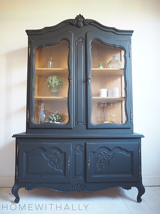 Large French Louis xv Oak Glass Cabinet in Black