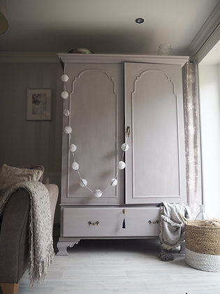Large antique double wardrobe in Lilac / grey