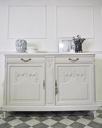 French oak antique cupboard cabinet in light grey marble top
