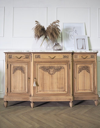 Large French Sanded Raw Wood Sideboard with marble top