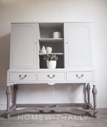 Edwardian mahogany display drinks cabinet unit painted grey