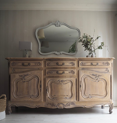Large French Louis XV Style Antique sideboard in limed Oak Raw Wood