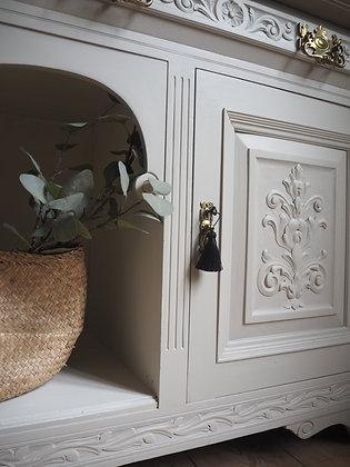 Large antique carved ornate sideboard in cream grey gold handles